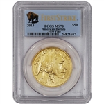 2013 American Gold Buffalo (1 oz) $50 - PCGS MS70 - First Strike - Buffalo Label