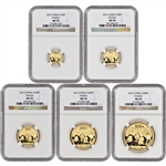 2013 China Gold Panda - 5-pc Year Set - NGC MS70