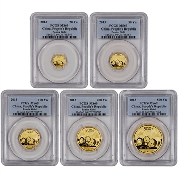 2013 China Gold Panda - 5-pc Year Set - PCGS MS69