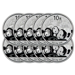 TEN (10) - 2013 China Silver Panda (1 oz) - BU