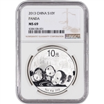 2013 China Silver Panda (1 oz) 10 Yuan - NGC MS69 - Large Label