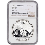 2013 China Silver Panda (1 oz) 10 Yuan - NGC MS70 - Large Label