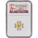 2013 Australia Gold Lunar 'Year of the Snake' (1/20 oz) $5 - NGC MS70