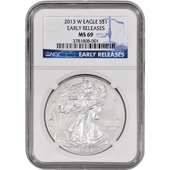 2013-W American Silver Eagle Uncirculated Burnished - NGC MS69 - Early Releases