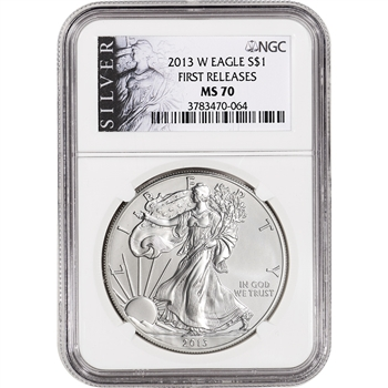 2013-W American Silver Eagle Burnished - NGC MS70 - First Releases - ALS Label