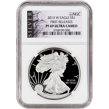 2013-W American Silver Eagle Proof - NGC PF69UCAM - First Releases -Silver Label