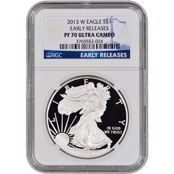 2013-W American Silver Eagle Proof - NGC PF70UCAM - Early Releases