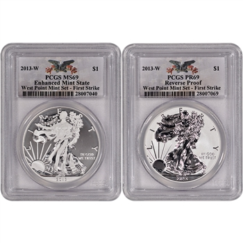 2013-W American Silver Eagle - West Point Two-Coin Set - PCGS 69 - First Strike