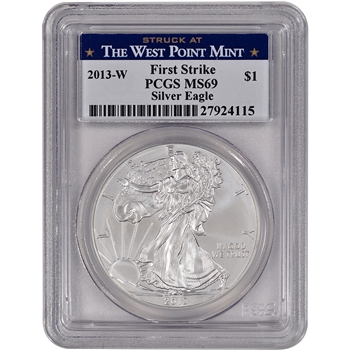 2013-W American Silver Eagle Uncirculated Burnished - PCGS MS69 - First Strike