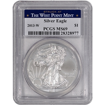 2013-W American Silver Eagle Uncirculated Burnished - PCGS MS69 West Point Label