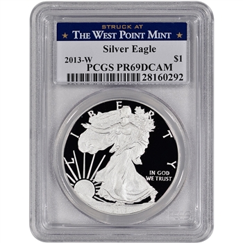 2013-W American Silver Eagle Proof - PCGS PR69 DCAM - West Point Label