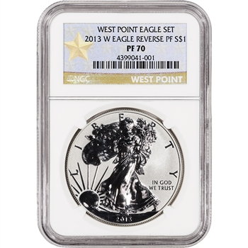 2013-W American Silver Eagle - Reverse Proof - NGC PF70 - West Point Star Label