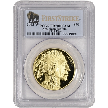 2013-W American Gold Buffalo Proof (1 oz) $50 - PCGS PR70 - First Strike Buffalo