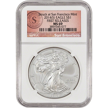2014-(S) American Silver Eagle - NGC MS69 - First Releases - SF Logo Label