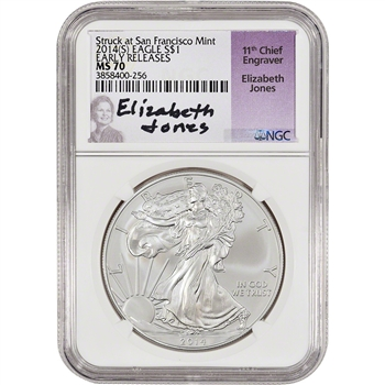 2014-(S) American Silver Eagle - NGC MS70 - Early Releases - Jones signed