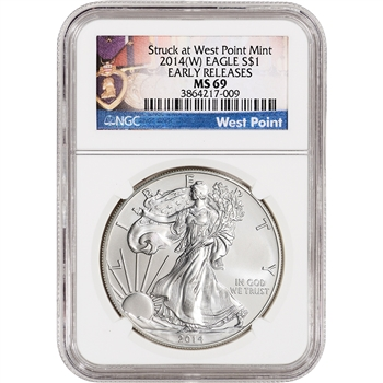 2014-(W) American Silver Eagle - NGC MS69 - Early Releases - West Point Label
