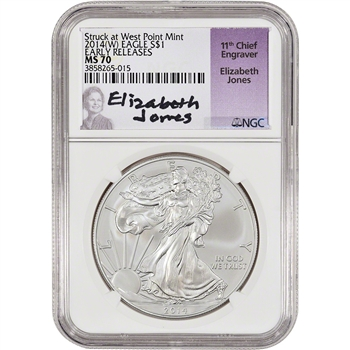 2014-(W) American Silver Eagle - NGC MS70 - Early Releases - Jones signed