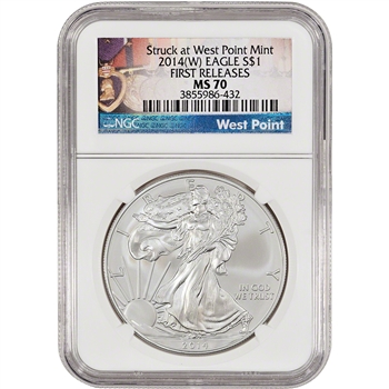 2014-(W) American Silver Eagle - NGC MS70 - First Releases - West Point Label