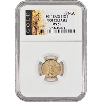 2014 American Gold Eagle (1/10 oz) $5 - NGC MS69 - First Releases - Gold Label