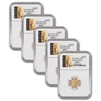 Five (5) 2014 American Gold Eagle (1/10 oz) $5 - NGC MS70 - First Releases
