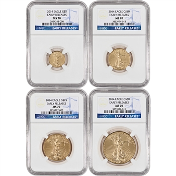 2014 American Gold Eagle 4-pc Year Set - NGC MS70 - Early Releases