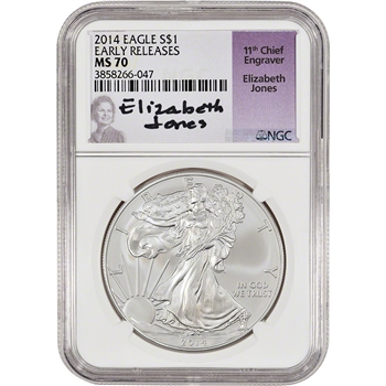 2014 American Silver Eagle - NGC MS70 - Early Releases - Jones signed