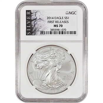 2014 American Silver Eagle - NGC MS70 - First Releases - Silver Label