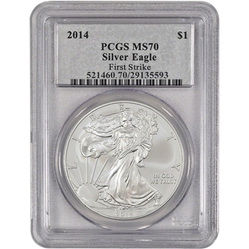 2014 American Silver Eagle - PCGS MS70 - First Strike - Silver Foil Label