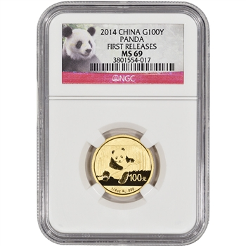 2014 China Gold Panda (1/4 oz) 100 Yuan - NGC MS69 - First Releases - Red Label