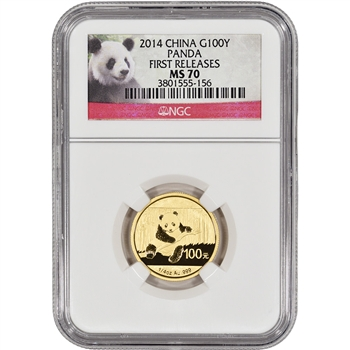 2014 China Gold Panda (1/4 oz) 100 Yuan - NGC MS70 - First Releases - Red Label