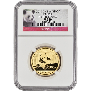 2014 China Gold Panda (1/2 oz) 200 Yuan - NGC MS69 - First Releases - Red Label