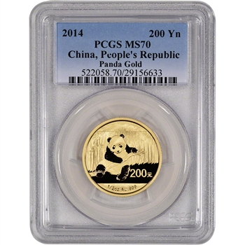 2014 China Gold Panda (1/2 oz) 200 Yuan - PCGS MS70
