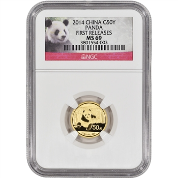 2014 China Gold Panda (1/10 oz) 50 Yuan - NGC MS69 - First Releases - Red Label