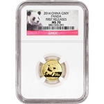 2014 China Gold Panda (1/10 oz) 50 Yuan - NGC MS70 - First Releases - Red Label