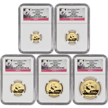 2014 China Gold Panda - 5-pc Year Set - NGC MS69 - First Releases - Red Label