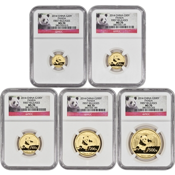 2014 China Gold Panda - 5-pc Year Set - NGC MS70 - First Releases - Red Label