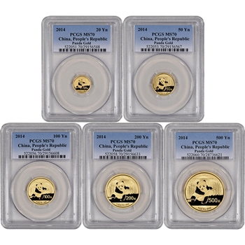 2014 China Gold Panda - 5-pc Year Set - PCGS MS70