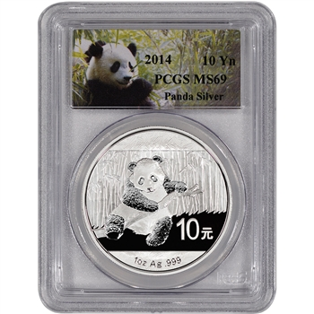 2014 China Silver Panda (1 oz) - PCGS MS69 - Panda Label
