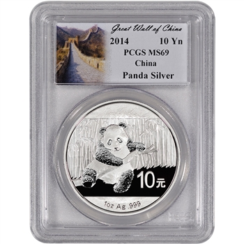 2014 China Silver Panda (1 oz) - PCGS MS69 - Great Wall of China Label