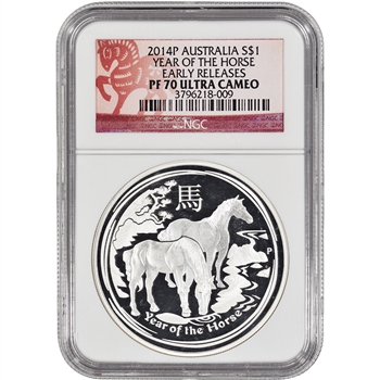 2014 Australia Silver 'Year of the Horse' (1 oz) Proof - NGC PF70 Early Releases
