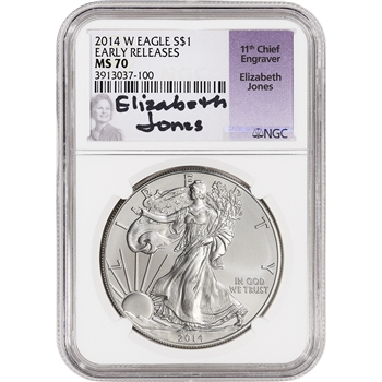 2014-W American Silver Eagle Burnished - NGC MS70 - Early Releases Jones Signed