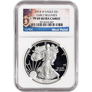 2014-W American Silver Eagle Proof - NGC PF69 UCAM - Early Releases WP Medals