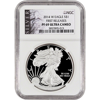 2014-W American Silver Eagle Proof - NGC PF69 UCAM - First Releases - ALS Label