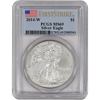 2014-W American Silver Eagle Uncirculated Burnished - PCGS MS69 - First Strike