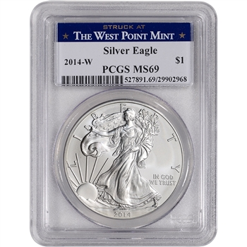 2014-W American Silver Eagle Burnished - PCGS MS69 - West Point Label