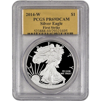 2014-W American Silver Eagle Proof - PCGS PR69 - First Strike - Gold Foil Label