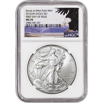 2015-(W) American Silver Eagle - NGC MS70 - First Day of Issue - Bald Eagle