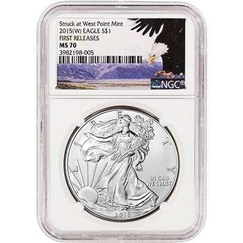 2015-(W) American Silver Eagle - NGC MS70 - First Releases - Bald Eagle Label