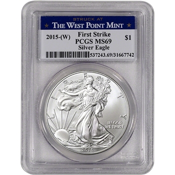 2015-(W) American Silver Eagle - PCGS MS69 - First Strike - West Point Label