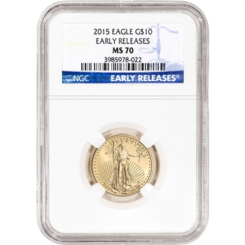 2015 American Gold Eagle (1/4 oz) $10 - NGC MS70 - Early Releases